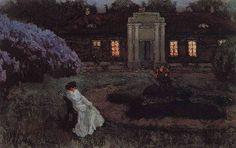 Sleepless Night, Stanislav Zhukovsky Yulianovich. Russian painter of Polish origin (1873 - 1944)