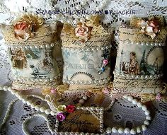 Handmade 3 lovely shabby chic paris lavender pillows + stick pin & tag,see photo