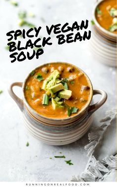 This spicy vegan black bean soup is hearty, thick, full of flavour and nutrition and has just the right amount of spice. It's high in fibre and protein, low in fat and is oil-free, gluten-free and easy to make in under 30 minutes with simple, everyday ingredients.