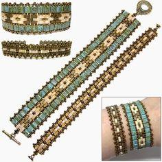 Half Bead Tila Patterns | Around The Beading Table: New Tila bead pattern: the Mosaic Bands