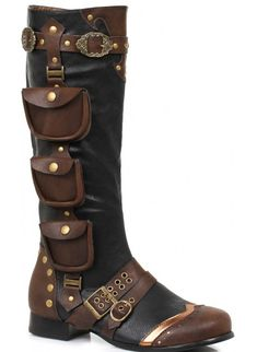 fe9b27449e1 Amos Multi Pocket Steampunk Mens Knee High Boots