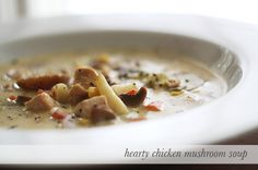Hearty chicken mushroom soup recipe that you can make as easy or complex as you like. Nice recipe, although I'd personally skip the lima beans. Chicken Mushroom Soup Recipe, Easy Mushroom Recipes, Gumbo Recipes, Healthy Food, Healthy Recipes, Creamy Chicken, Winter Food, Soup And Salad, Soups And Stews