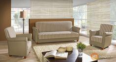 Sedacia súprava do obývacej izby je tvorená priestrannou pohovkou a dvomi prídavnými kreslami. Zostava tak umožní ľubovoľné zostavenie podľa možností interiéru. Pohovku môžete navyše jednoducho rozložiť a vytvoriť tak pohodlné lôžko na spanie. Ložná plocha s rozmermi 191 x 121 cm umožní spanie aj pre dve osoby. Dvojfarebný variant ponúka možnosť kombinácie farieb a poťahov z priloženej vzorkovnice.