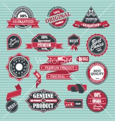 Set of retro label satisfaction guaranteed vector by ukix21 on VectorStock®