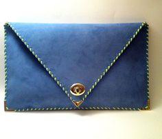 blue + #neon green leather clutch #fashion #FashionCherry