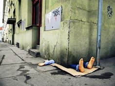 Sculpture / urban intervention in Prague, Czech Republic, by urban activists Fra.Biancoshock.