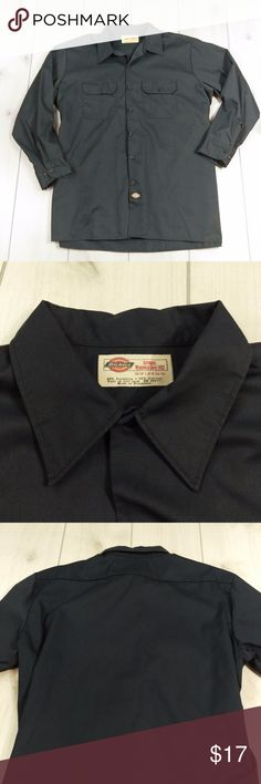 "Dickies Mens Long Sleeve Work Shirt Button Down 2X Dickies Men's Long-Sleeve Work Shirt in Charcoal Grey   Size 2X  65% Polyester, 35% Cotton   Chest - 27"" across at underarms  Sleeve - 24.5"" from shoulder seam  Neck - 18-18.5""  Length - 32"" from neck to bottom seam  Excellent condition. No holes or stains. Smoke free. GT2 Dickies Shirts Casual Button Down Shirts"