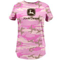 John Deere Women's Pink Camouflage Short Sleeve T-Shirt With Glitter Logo