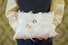 Wedding Ring Pillow / Vintage Style Brooch by NatalieBriggs, $59.00