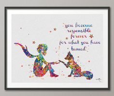 The Little Prince 4 Le Petit Prince with Fox Watercolor Painting Art Print Wedding Gift Wall Decor Nursery Art Wall Hanging No [NO The Little Prince French, The Petit Prince, Little Prince Quotes, Little Prince Tattoo, Watercolor Fox, Watercolor Paintings, Painting Art, Watercolours, Nursery Wall Decor