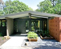 Modern House Designs Exterior and Interior Accents : Astonishing House Mid Century Modern Remodel Grey Entry Door