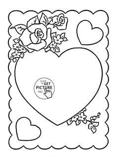 Hearts Valentine With Flowers Coloring Page For Kids Girls Pages Printables Free