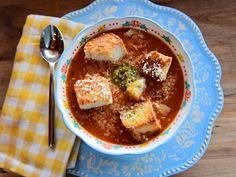 Get Tomato Soup Recipe from Food Network Food Network Recipes, Cooking Recipes, Tofu Recipes, Vegetarian Recipes, Parmesan Soup, Garlic Cheese, Tomato Soup Recipes, Rachel Ray, Soup And Sandwich