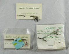 Vintage Fishing Tackle Duty's Minnow Wires Baiting Needles Invisible Minnow Rig  #Dutys