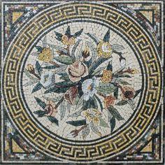 Greek Keys Round Geometric Bouquet Garden Home Decor Marble Mosaic FL774