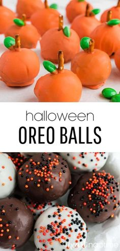 Easy Halloween Oreo balls made 5 different ways! The perfect bite-sized treat if you're craving something sweet this fall. #halloween #halloweenrecipes #halloweendesserts #halloweenparty #oreos #oreo #oreoballs #cookieballs #oreocookies #chocolate #chocolaterecipes #nobake #nobakedesserts #easydesserts #recipes #iheartnaptime Halloween Oreos, Halloween Chocolate, Easy Halloween, Halloween Recipe, Halloween Party, Oreo Cake Balls, Holiday Treats, Fall Treats, Homemade Donuts