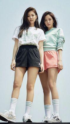 Blackpink jennie and jisoo for adidas Blackpink Jisoo, Blackpink Fashion, Korean Fashion, South Korean Girls, Korean Girl Groups, Memes Blackpink, J Pop, Blackpink Debut, Black Pink Kpop