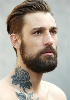 Rose  Tattoo  Love  Ink  Men  Guy  Beard  Pin  Repin  Color  Art
