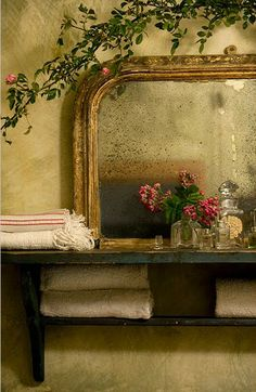 """Idea for bathtub wall---'double' shelf for china on top and towels underneath... 32"""" wide; 9"""" and 7"""" deep shelves"""