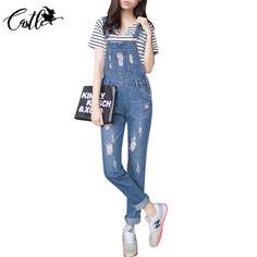 Kobiet Kombinezon Kombinezony Denim Zgrywanie Dziura Luźne Spodnie na Co Dzień Wiosny 2017 Kieszenie Jeans Ripped Kombinezon Dorywczo Retro Femme