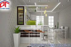 Tủ bếp quầy bar - đảo bếp kiểu chữ U gỗ Acrylic chống ẩm KC80a