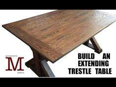 In this video I show how I built a trestle table that extends from both ends. Link to Plans: http://mccauleysdesign.com/product/extendingfixed-trestle-table-...