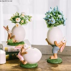 Nordic Style Cute Rabbit Figurine Home Decoration Animals Bunny Flower Vase Resin Art&Craft Wedding Decoration Craft Wedding, Wedding Decorations, Table Decorations, Creative Birthday Gifts, Gift Table, Nordic Style, Easter Crafts, Flower Vases, Plant Decor
