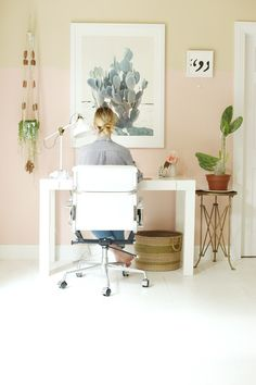 STYLECASTER | Unique Design Trends Under 50 | Half-Pink, Half-Peach Walls