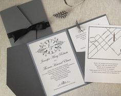 A Custom clock themed wedding invitation for the D & F Clock Tower in Denver. www.vermontweddinginvitations.com