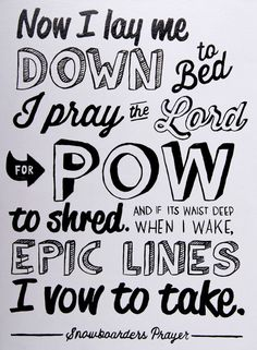 Snowboarders Prayer