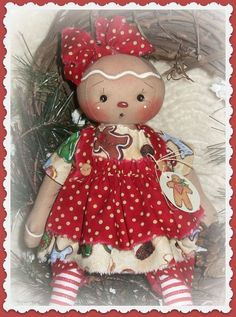 PriMitive Folkart Raggedy Ann ~ Gingerbread Girl ~ Christmas Cookies ~ Tag #NaivePrimitive