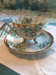 Vintage Tea Cup 2 Piece Set Pearlized White by redtabbyboutique