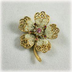 Vintage Signed BSK Seed Pearl and Rhinestone Brooch Flower Pin