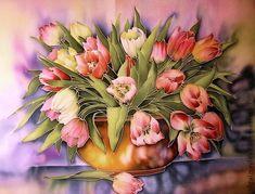 """Картины цветов ручной работы. Ярмарка Мастеров - ручная работа Батик панно """" Тюльпаны """" на шелке. Handmade."""