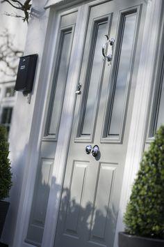 32 Trendy Ideas For Exterior Wood Shutters Front Entrances Grey Composite Front Door, Grey Front Doors, Best Front Doors, Front Door Porch, Double Front Doors, House Front Door, Front Door Colors, Garage Door Design, Garage Doors