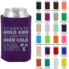 Wedding Favors - Let Love Brew Personalized Can Coolers, Fall ...