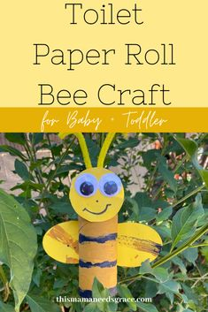 Simple bee craft that uses a toilet paper roll.  My toddler loved playing and imagining with the final product. #BeeCraft #ToiletPaperRollCrafts #ToddlerCrafts