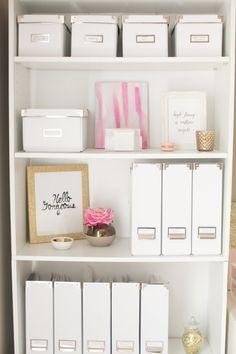 pretty organization, love the simple colors // home office inspo Home Office Space, Home Office Design, Home Office Decor, Office Ideas, Office Furniture, Office Designs, Office Spaces, Office Style, Furniture Ideas