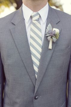 Shades of Gray - Groom Style...I love the striped tie with gray suit