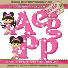 Complete Alphabet Minnie Girl Ears PINK Clipart by MaddieZee, $1.50