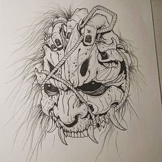 "Andrea - Yomi Tattoo Studio na Instagramie: ""Oni mask . . . #akumababi #yomitattoostudio #inksketch #ink #sketch #sketchbook #sketches #sketching #sketchtattoo #tattoos #tattoo…"""