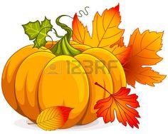 clipart: Illustration of Autumn Pumpkin and leaves Illustration