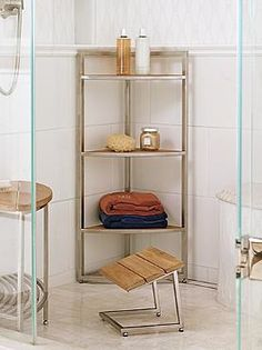 Featuring a lightweight reinforced stainless steel frame and three generously-sized shelves, the Marais Teak/Stainless Corner Shelf is the perfect addition to your walk-in shower to enable stylish storage.