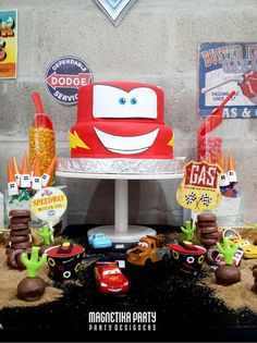 Cool cake at a Disney Cars birthday party! See more party ideas at CatchMyParty.com!