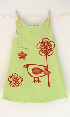 Apple Green Babycord Birdie Shift Dressmaking Kit (1-6)