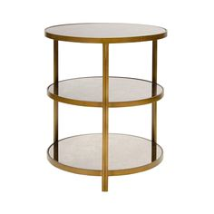 Bronzed 3 tier side table with antique mirror tops. 26h by 22dia 1245