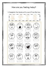 English worksheet: How are you feeling today?