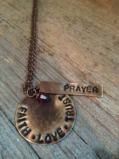 Faith.Love.Trust with Prayer tag Necklase by lettersoftheheart, $25.00