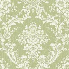 The Wallpaper Company 8 in. x 10 in. Green Large Contemporary Damask Wallpaper Sample-WC1280586S at The Home Depot