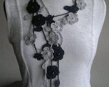 Halsband Rose, häkeln Hals Zubehör, Halskette, schwarz & grau, 100 % Baumwolle.